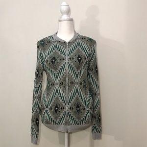 Asos Green Gray Knit Zipper Sweater Geometric S